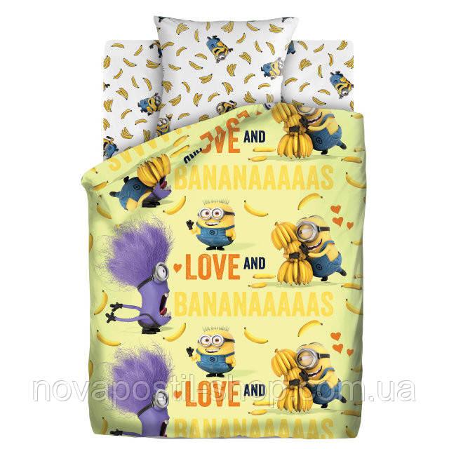 Комплект постельного белья Миньоны Бананас подростковый наволочка 50*70