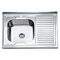 Кухонная мойка накладная декор 80 см правая 8060 RD