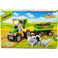 Конструктор BANBAO 8586 трактор, фигурка, животные, 115дет, 23-15-5 см