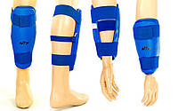Защита ног и рук тхэквондо (голень+предплечье) PU WTF BO-4382-B(М) (р.М, синий, липучка)