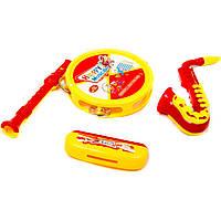 Музыкальная игрушка инструменты 3326 бубен, саксофон, труба, гармошка, в пакете 22 см