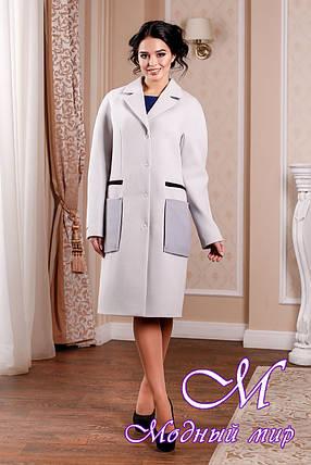 Кашемировое женское пальто светло-серого цвета с карманами (р. 44-54) арт. 998 Тон 45, фото 2