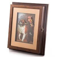 "Ключница-картина 3D ""Девочка с собакой"", 24x28 см."