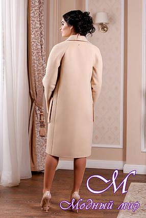 Кашемировое женское пальто кремового цвета с карманами (р. 44-54) арт. 998 Тон 47, фото 2