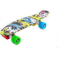 Скейт 822 (8) АБСТРАКЦИЯ, БЕЗ СВЕТА, длина доски 55 см, колёса PU - d=6 см