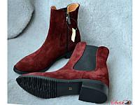Демисезонные ботинки женские без каблука из кожи и замши разные цвета AV0020
