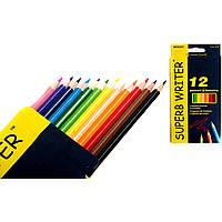 Карандаши 12 цветов шестигранные, Superb Writer, Marco