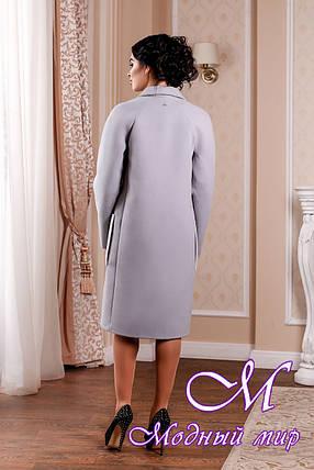Кашемировое женское пальто темно-голубого цвета батал (р. 44-54) арт. 998 Тон 40, фото 2