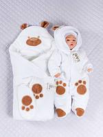 """Велюровый набор для новорожденных """"Панда"""" белый, 3-х предметный"""