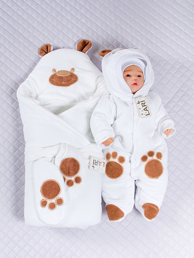 """Зимний велюровый набор для новорожденных """"Панда"""" белый, 3-х предметный"""