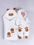 """Зимний велюровый набор для новорожденных """"Панда"""" белый, 3-х предметный, фото 2"""