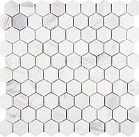 Каменная мозаика на сетке белый травертин Vivacer SB11