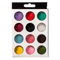 Набор бархатного песка  для дизайна ногтей, 12 цветов