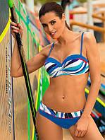 Раздельный женский синий купальник бандо  Marko