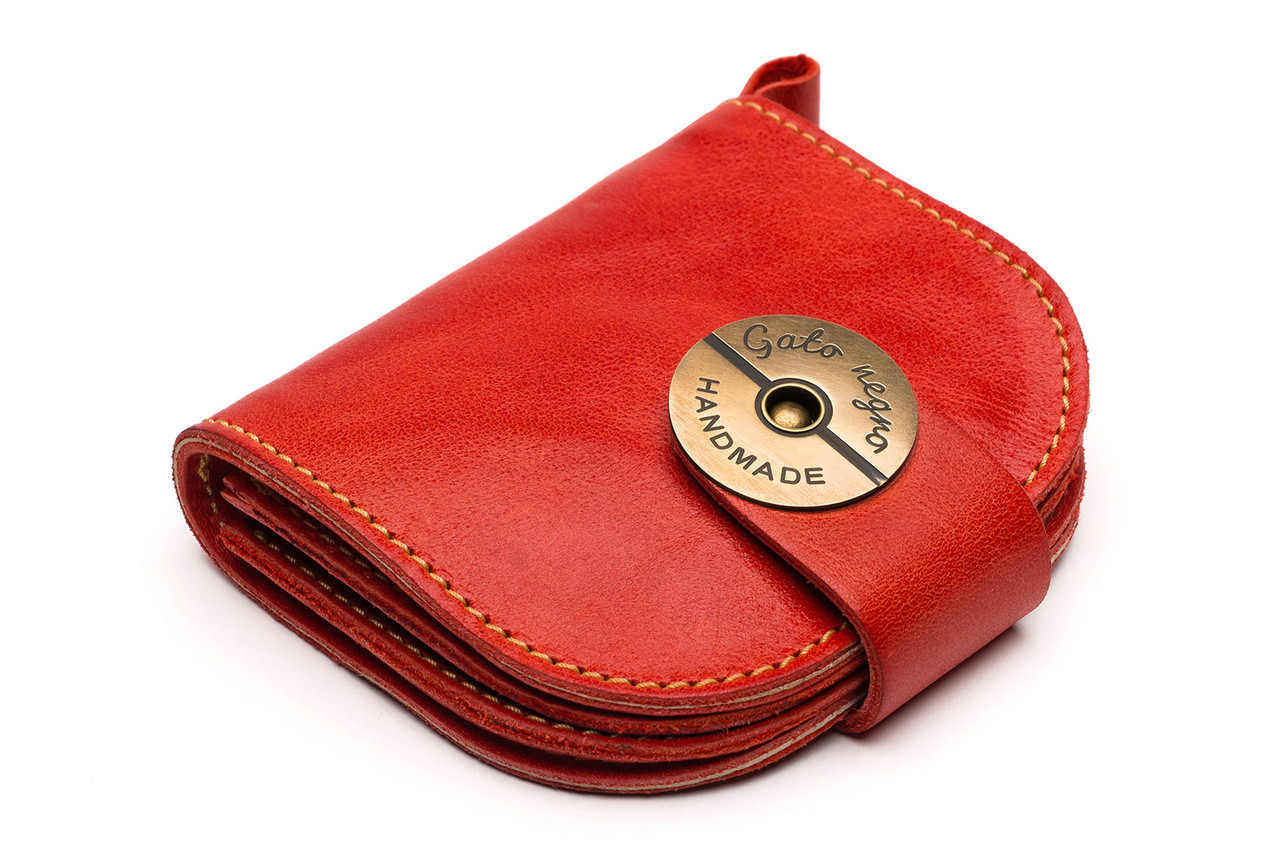 e51b4c9e2385 Кожаный кошелек ручной работы Gato Negro Domic женский, красный (женские  кошельки из натуральной кожи