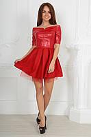 Платье Коктейльное открытые плечи кожаное красное