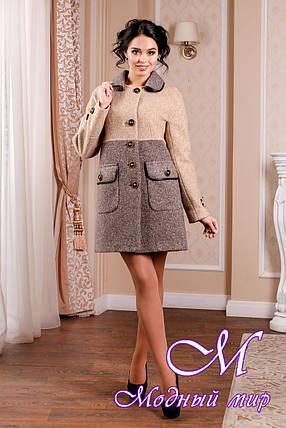 Стильное женское демисезонное  пальто цвета кофе (р. 44-62) арт. 1002 Тон 78, фото 2