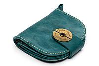 Кожаный кошелек ручной работы Gato Negro Domic женский, голубой (женские кошельки из натуральной кожи)