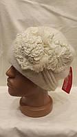 Женская шапка из ангоры с цветами сбоку Ассимерия  белая