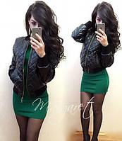Стеганная кожаная женская куртка у-5201198