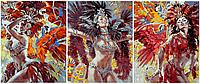 Картины по номерам 50х120 см. Триптих Карнавал в Рио-де-Жанейро Бразилия Художник Алексей Лашкевич