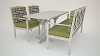 Дубовая мебель для сада. Водонепроницаемые ткани на подушки.