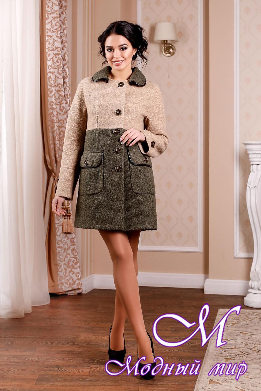 Стильное женское демисезонное двухцветное пальто батал (р. 44-62) арт. 1002 Тон 45