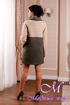 Стильное женское демисезонное двухцветное пальто батал (р. 44-62) арт. 1002 Тон 45, фото 2
