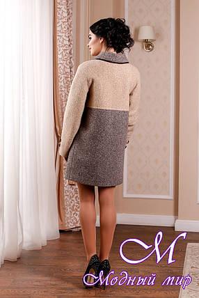 Стильное женское демисезонное пальто в отттенках кофе батал (р. 44-62) арт. 1002 Тон 78, фото 2