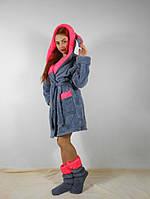 Махровый женский комплект для дома: халат и сапожки