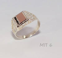 Мужская печатка из серебра и золота с фианитами №МП-6н