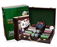 Игра  покер в деревянном чемодане на  300фишек арт.IG-6643