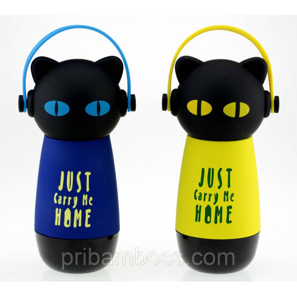 Термос Кіт у навушниках, 4 кольори
