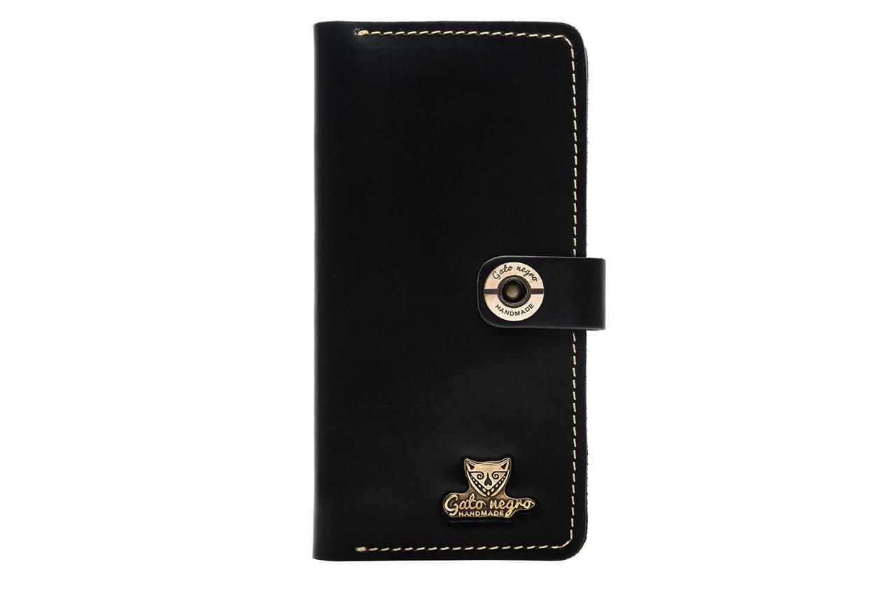 1195030f05d2 Кожаный кошелек ручной работы Gato Negro Alfa One мужской, черный (мужские  кошельки из натуральной