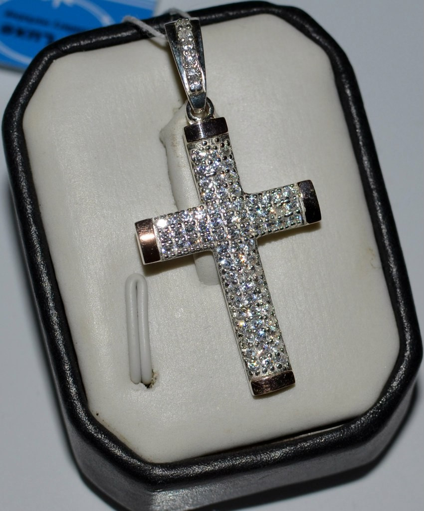Серебряный крест с золотом и фианитами №К1н