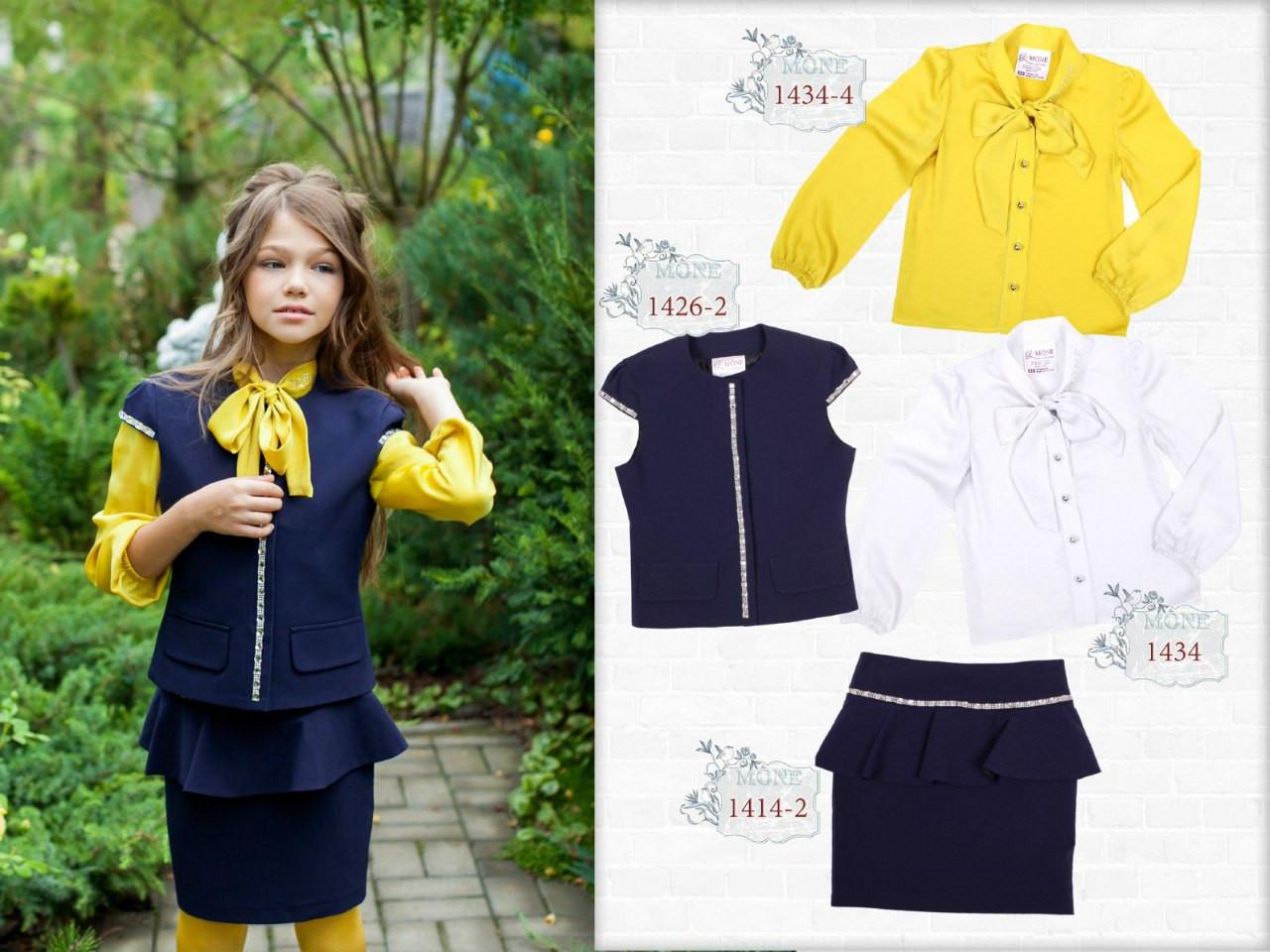 Школьная атласная  блузка (фисташковая) р-р 122,140,152