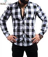 Рубашка в большую клетку черная с белым, фото 1