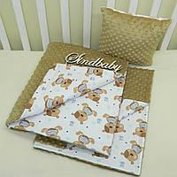 """Набор для коляски плед Minky + подушка,""""Мишки"""" капучино"""
