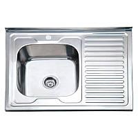 Кухонная накладная мойка 80 см матовая 8060 LE правая