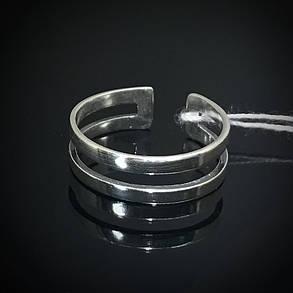 Серебряное фаланговое кольцо, две полоски, минимальный размер 13, фото 2