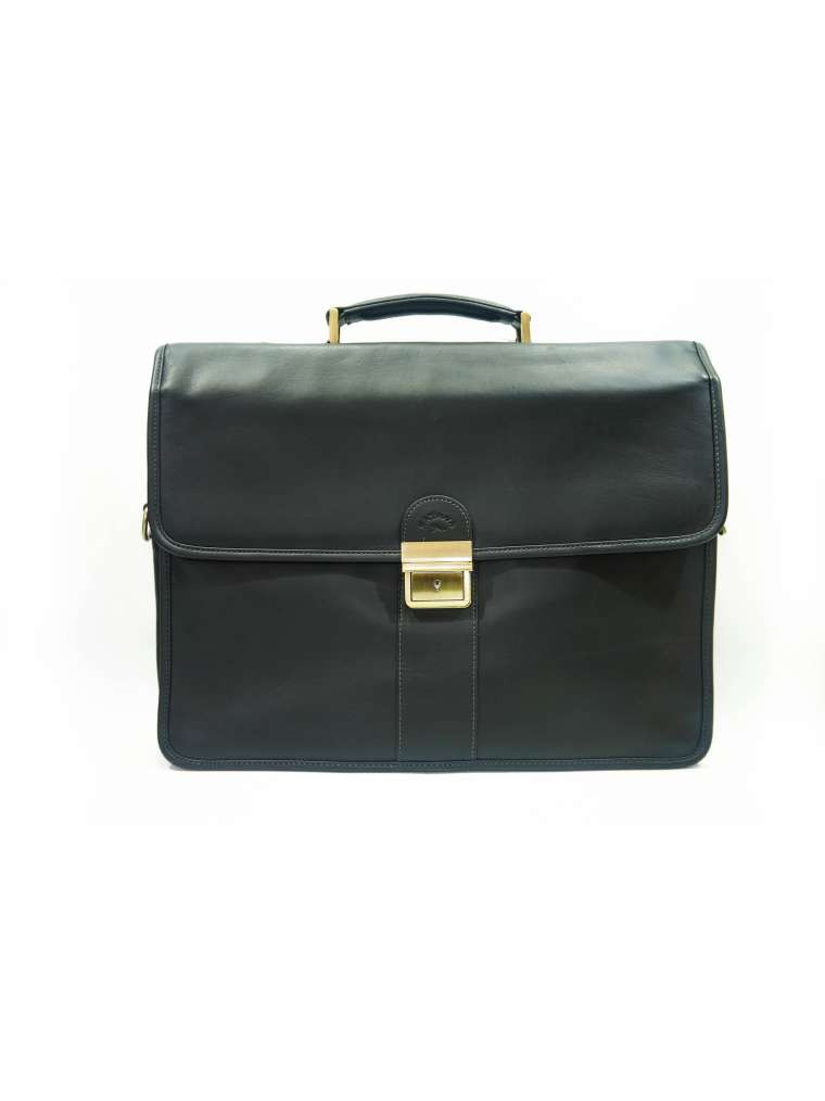 Портфель кожаный мужской чёрный 34206