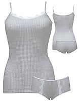 """Комплект женский майка и шорты с кружевом """"Ego"""" WSS 95% хлопок серый c белым двоеточием"""