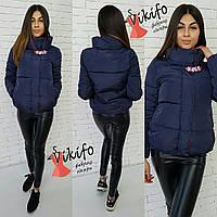 Куртка демисезонная женская короткая на силиконе с украшением 5 цветов Gf82