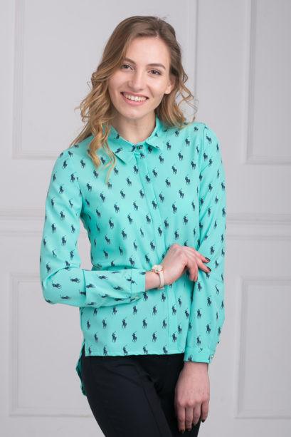 963e7b3ef77 Стильная бирюзовая блузка свободного силуэта с удлиненной спинкой ...