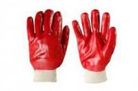 Перчатки рабочие красные МБС на трикотажной основе  (маслобензостойкие)