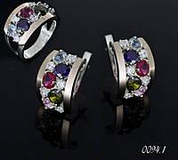 Серебряные серьги и кольцо с зотыми накладками., фото 1