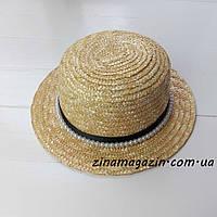 Шляпа канотье с лентой и бусинами