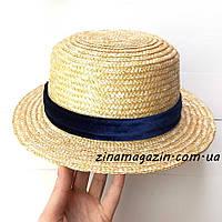 Шляпа канотье с бархатной лентой