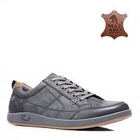 Кожаные демисезонные польские мужские удобные стильные серые спортивные туфли 46 Mazaro