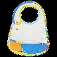 Детский непромокаемый слюнявчик (нагрудник)  с карманом, с регулятором размера «Непромокайка CLASSIC ЭКО ПУПС»